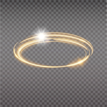 Bright halo. Abstract glowing circles. Light optical effect halo on transparent background. Vector illustration, eps10