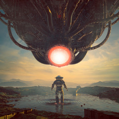 Surrender to the machine / 3D illustration of retro science fiction with astronaut encountering giant alien robot machine intelligence on warm desert planet