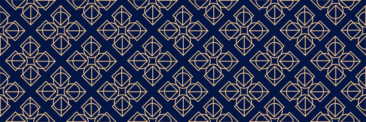 Tuinposter Kunstmatig Dark blue seamless background with geometric golden pattern