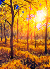 Deurstickers Natuur Oil painting canvas Sunset Or Sunrise In autumn Forest Landscape. Sun Sunshine Sunlight And Rays Through autumn Woods Trees In warm Forest. Beautiful Scenic View art
