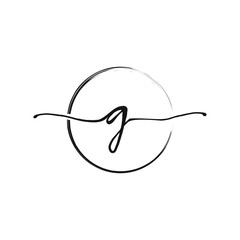 G letter logo with circle brush design vector