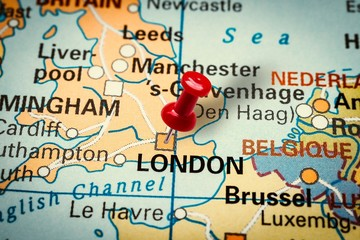 Pushpin pointing at London city in United Kingdom