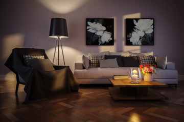 Modern living room interior with artwork by artificial light - 3d illustration