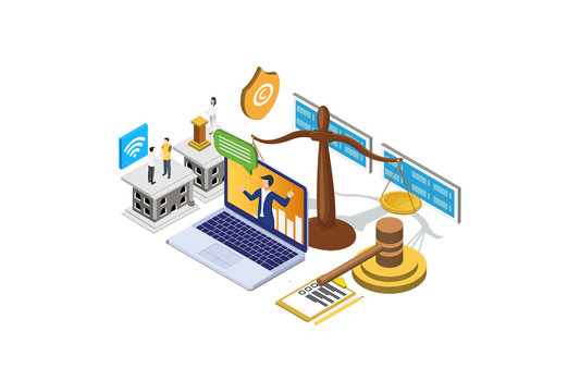 Modern Isometric Copyright & Internet Law Illustration, Web Banners, Suitable for Diagrams, Infographics, Book Illustration, Game Asset, And Other Graphic Related Assets