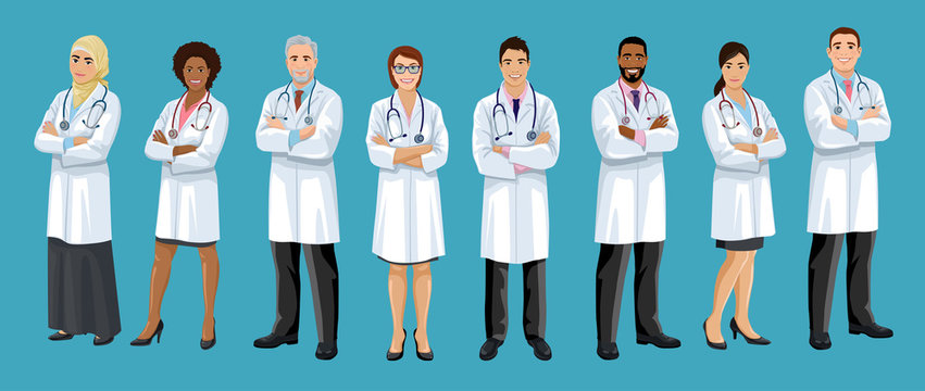 Big set of male and female doctors different nationalities. Men and woman medical staff are standing crossed arms. European, Asian, African American, Arab hospital employees. Isolated vector