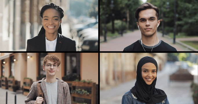 Portrait of multiracial students looking into the camera. Split screen collage of diverse smiling multiracial people. Lifestyle concept.