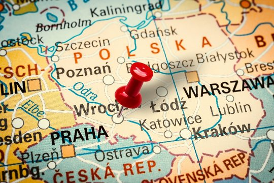 Pushpin pointing at Wroclaw city in Poland