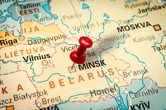 Pushpin pointing at Minsk city in Belarus