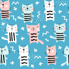 Seamless childish pattern with cute cats. Hand Drawn Vector Illustration