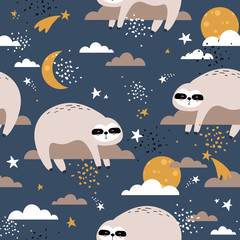 Door stickers Bestsellers Kids Sloths, stars, moon and clouds hand drawn backdrop. Colorful seamless pattern with animals. Decorative cute wallpaper, good for printing. Overlapping background vector. Design illustration