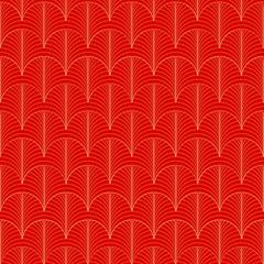 Goldmuster, art deco Muster 20er Jahre gold rot und leuchtend, nahtlos, linear