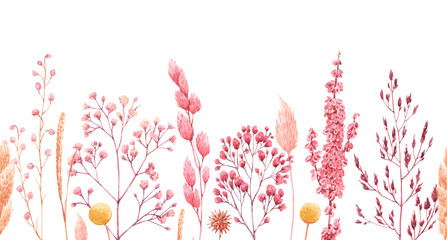 Beautiful seamless pattern with watercolor herbarium wild dried grass in pink and yellow colors. Stock illustration.