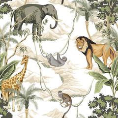 Vintage banana tree, palm tree, lion, monkey, indian elephant, giraffe animal, mountain floral seamless pattern white background. Exotic safari wallpaper.