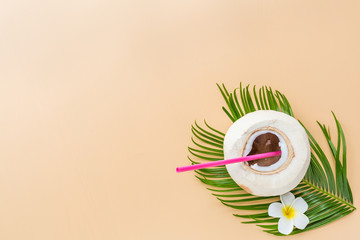 Palm leaf and coconut on pastel orange background, top view. Mockup, overhead. Flat lay image with copy space. Summer and tropical concept
