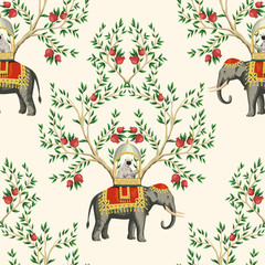 Vintage chinoiserie floral pomegranate tree, sloth, indian elephant seamless pattern nude background. Exotic oriental wallpaper.