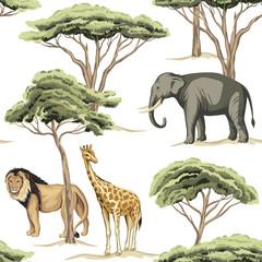 Vintage tree, lion, indian elephant, giraffe animal floral seamless pattern white background. Exotic safari wallpaper.