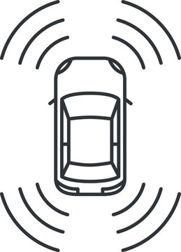 Car Icon with backup camera , vector