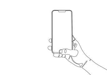 Continuous one line drawing of modern mobile phone