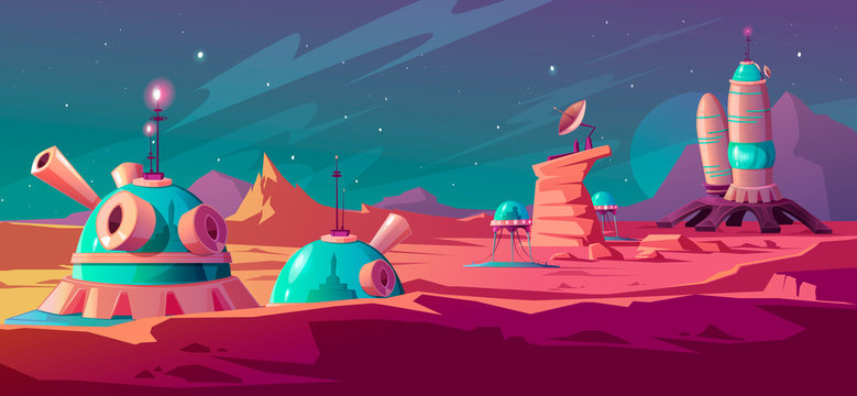 Landscape of Mars surface with colony buildings. Astronaut base on red planet. Vector cartoon futuristic illustration of space colonization, cosmos exploration concept. Space station in alien galaxy