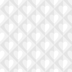 Whites texture with hearts. Seamless abstract volume pattern. Good for Valentines Day, wedding invitation and other.