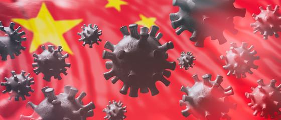Flu coronavirus pandemic virus infection, chinese flu concept. 3d illustration