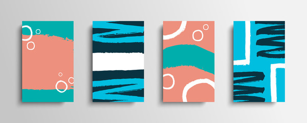 Set of covers with color brush strokes. Collection of artistic creative cards with hand drawn shapes. Vector illustration. Fotomurales
