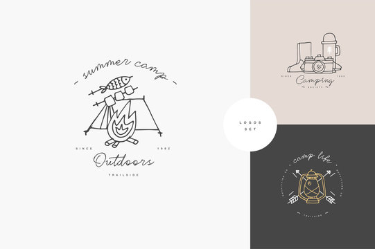 Vector set of liear camping and hiking icons or logos . Traveling emblem or round badge with traveling staff. Design for t-shirt and print.