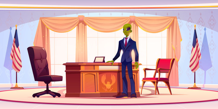 Funny alien business man or president stand in office with large windows, table, chairs and United States flags. Humanoid monster with green skin, wide eyes in formal suit. Cartoon vector illustration