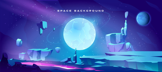 Space background with landscape of alien planet with craters and lighted crack. Vector cartoon fantasy illustration of blue galaxy sky with gas giant and moon and ground surface with rocks
