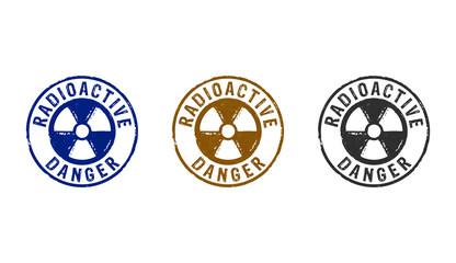 Radioactive danger symbol stamp and stamping