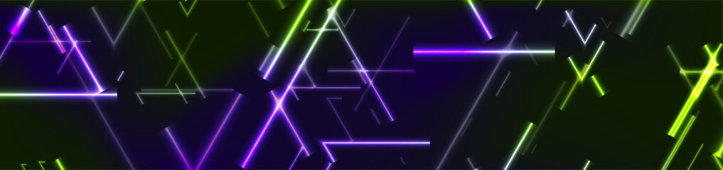 Green and violet neon laser lines abstract tech banner. Vector modern background Wall mural