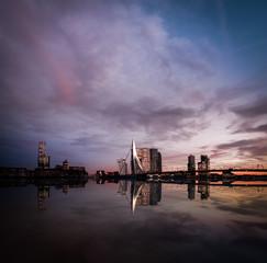Deurstickers Rotterdam Rotterdam, the Netherlands - January 16th 2020: Skyline of Rotterdam with Erasmus bridge. Tourist attraction in the Netherlands.
