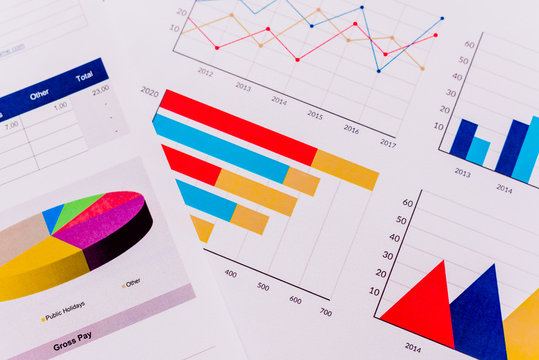 Documents with an economic report, full of colorful graphs with macro-economic data.