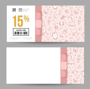 Gift Voucher Templates for Kids and Baby Goods. Gift certificate for a holiday.  Vector  illustration