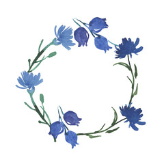 frame with blue watercolor flowers
