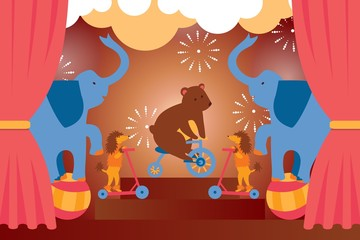 Circus show with trained animals, bear, elephant, dog performing stunts, cartoon vector illustration. Stage performance, circus entertainment announcement poster simple design, festival celebration