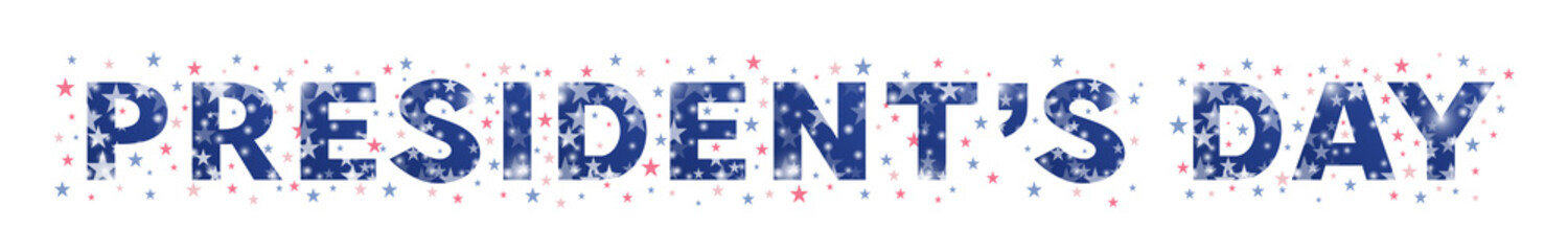 Typography of Presidents Day decorated with stars