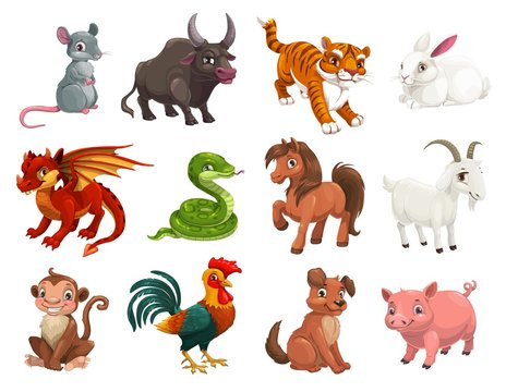 Chinese Lunar New Year animals, zodiac horoscope cartoon vector characters. Cute rat or mouse, dragon and pig, dog, tiger, rooster or chicken, horse, snake, monkey, ox, rabbit, goat or sheep signs