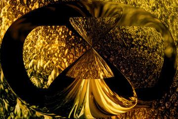 Adorno dorado brillante con textura de metal. Fondo abstracto para el concepto de tiempo y reloj de arena. Decoración Art Nouveau.