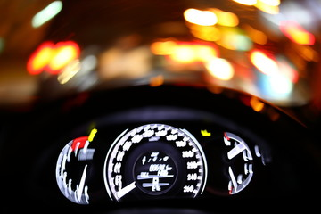 Fotomurales - crash drive accident of on night road, image blur light of car rotate motion background