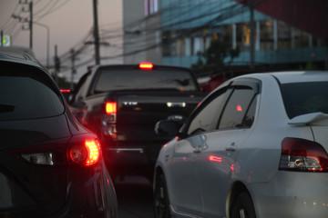 Fotomurales - traffic jam on night road, car driving in rush hour of city life