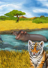 cartoon scene with hippopotamus hippo swimming in river near the meadow resting illustration for children
