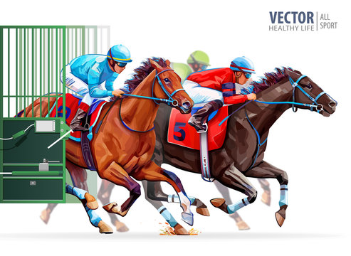 Three racing horses competing with each other. Start gates for horse races the traditional prize Derby. Hippodrome. Racetrack. Sport. Vector illustration