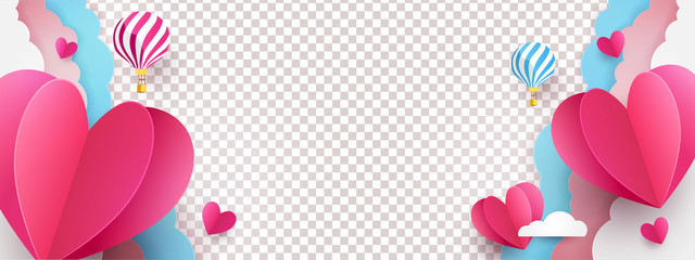 Valentine's Day modern minimalistic design for Website, greeting or Sale banner, flyer, poster in paper cut style with cute flying Origami Hearts over clouds with air balloons isolated on background.