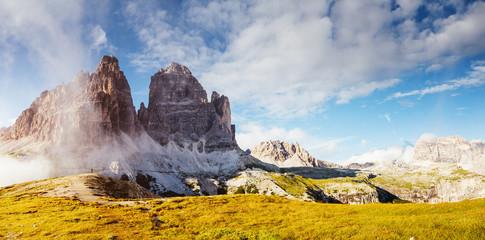 Wall Mural - Stunning image of alpine rocky ridge. Location National Park Tre Cime di Lavaredo.