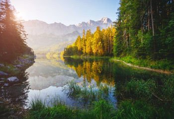Wall Mural - Magical image of the famous lake Eibsee.