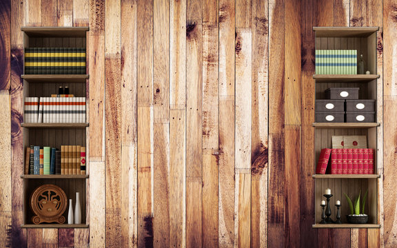 3d mural wallpaper for the library wall and Newspaper with books and vases antique . wood background
