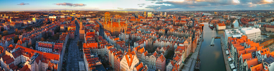 Aerial panorama of the old town in Gdansk at sunrise, Poland. Fotomurales