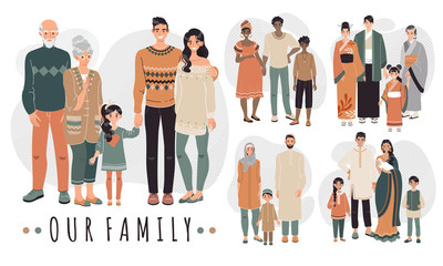 Families from different countries, cartoon characters vector illustration. Happy family together, parents and children. People in traditional clothes of Asian, Arabic, African and Indian culture.