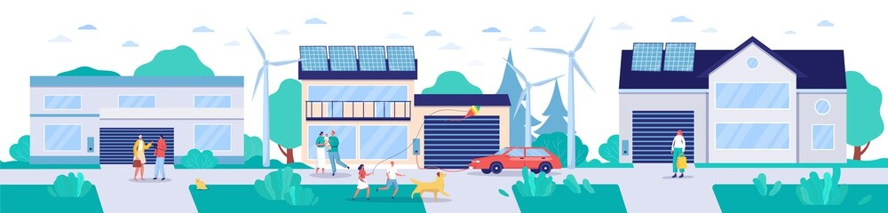 Modern town with renewable energy technologies, vector illustration. Environment friendly lifestyle concept, houses with solar panels, wind turbines and electric cars. Sustainable energy environment.